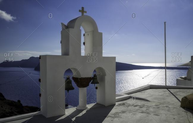 Caldera view from a church roof in Oia of Santorini island, Kiklades, Grecia, Greece