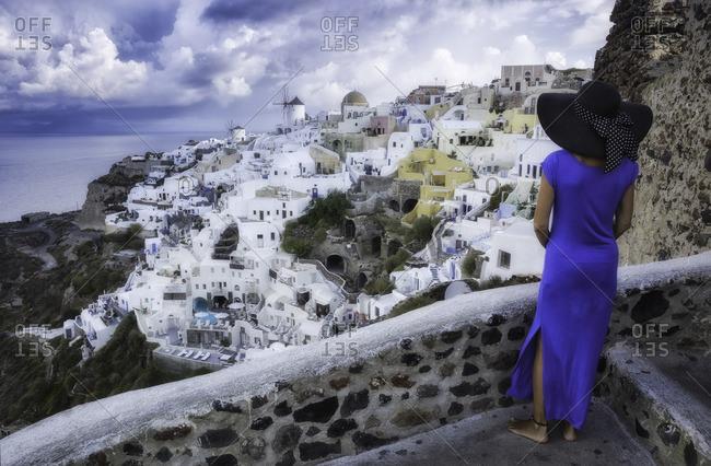 Panoramic view of Santorini island from old church ruins in Oia., Kiklades, Grecia, Greece