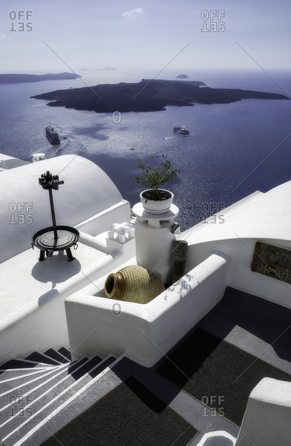 Caldera view from my room in front of sea, Kiklades, Grecia, Greece