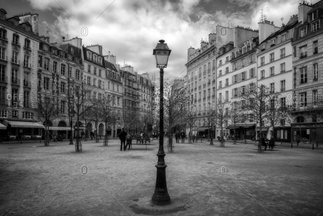France,Francia, Ile-de-France, Paris,  - March 30, 2015: Place Dauphine.Ile de la Cit�. Paris, Ile-de-France , France
