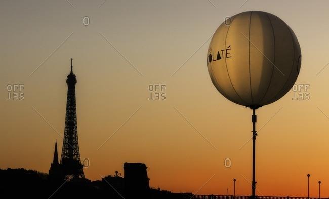 France,Francia, Ile-de-France, Paris,  - March 26, 2015: Sunset time over tour Eiffel. Paris, Ile-de-France , France