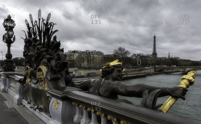 Panoramic view of Paris from Alexander III bridge, Ile-de-France , France