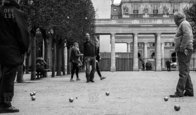 France,Francia, Ile-de-France, Paris,  - March 30, 2015: Bowls games into the Palais Royale gardens. Paris, Ile-de-France , France