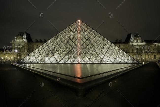 France,Francia, Ile-de-France, Paris,  - March 30, 2015: Louvre Museum glass Pyramid, Ile-de-France , France