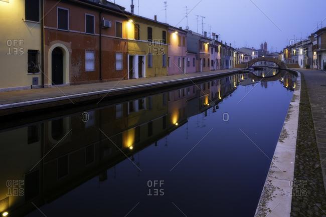 House reflections over canal inside Comacchio town, Emilia Romagna, Emilia , Italy, Italia, Europe, Europa