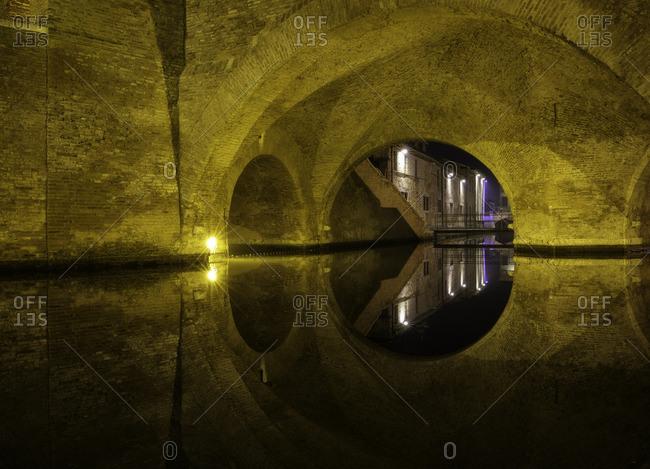 Details and reflections of famous bridge landmark of town, Emilia Romagna, Emilia , Italy, Italia, Europe, Europa