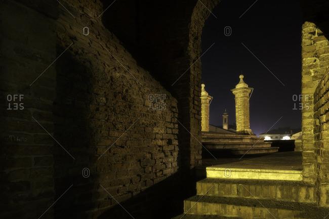 "Famous landmark in Comacchio town.It's called ""Three bridges"", Emilia Romagna, Emilia , Italy, Italia, Europe, Europa"