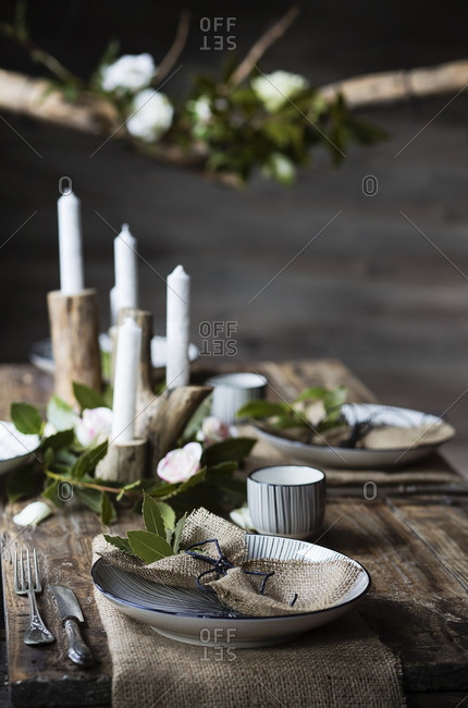 Table setting. Rustic style
