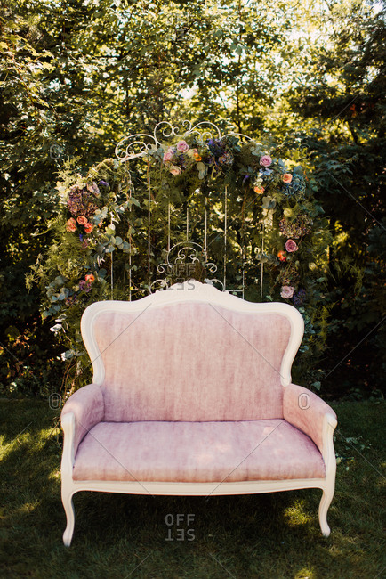 Sofa and floral frame for wedding