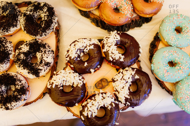 Various donuts on a table