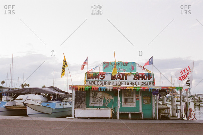 Bait shop on the bay in Rockport, Texas