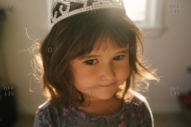 Little girl wearing crown