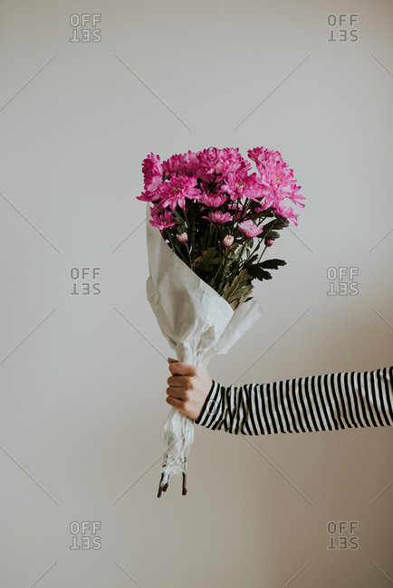 Woman's hand holding bouquet of pink flowers
