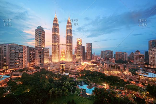 Kuala Lumpur, Malaysia - November 21, 2014: Evening skyline with view of Petronas Towers