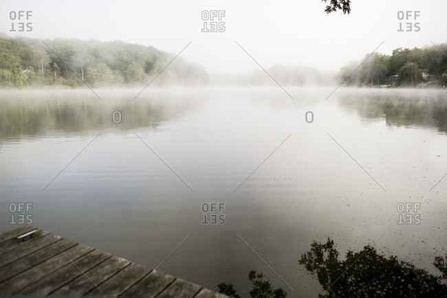 Lake covered in fog