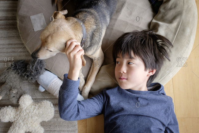 Little boy lying on a pet bed petting his dog