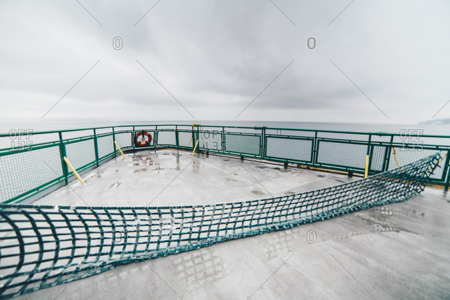 Upper deck of ferry sailing on Puget Sound