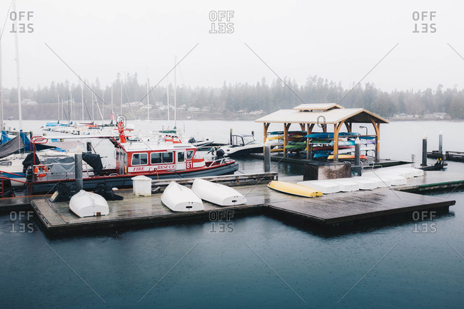 Kingston, Washington - February 3, 2017: Marine 81 fire and rescue boat docked in Puget Sound