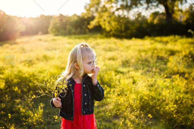 Blonde girl holding wildflowers in field