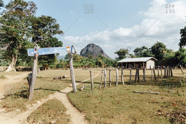 Entrance of a rural school in the countryside of Tha Kaek, Laos