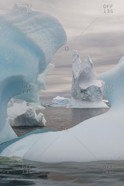 Iceberg sculptures in Pleneau Bay, Antarctica