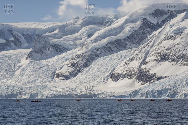 Kayaking near the glaciers of Andvord Bay, Antarctica