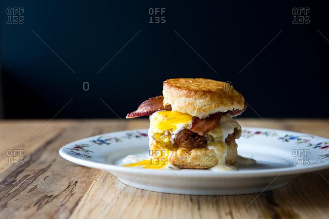 Breakfast sandwich served in a restaurant