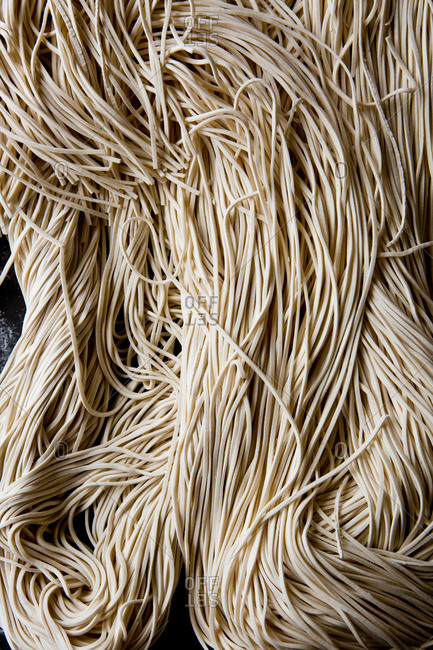 Close up photo of raw noodles