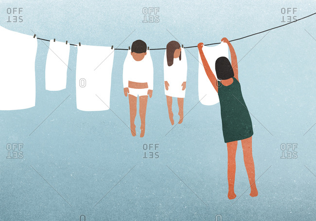 Illustration of a mother hanging up the laundry and caring for the children