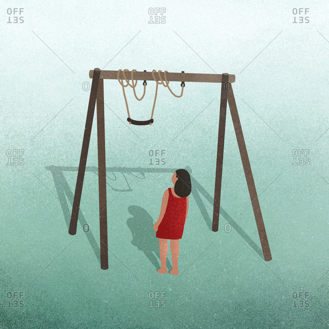 Illustration of a girl trying to get on a swing