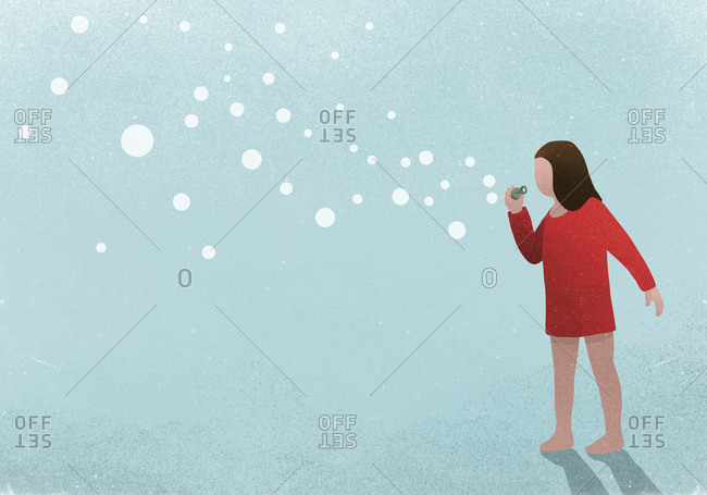 Illustration of a girl blowing soap bubbles