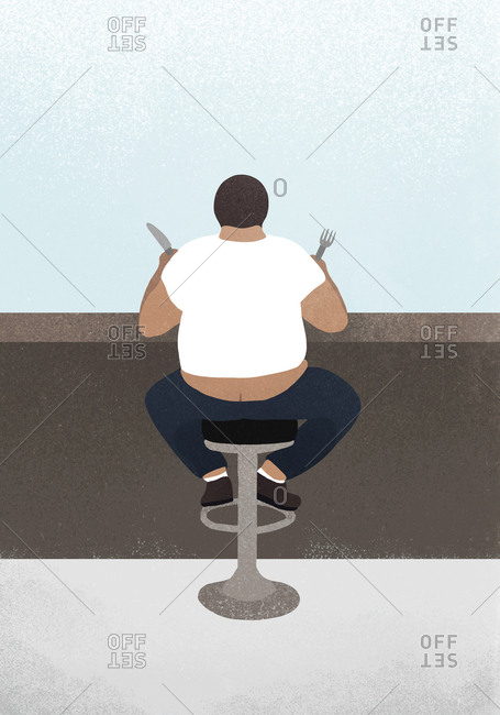 Illustration of a plump man waiting for food