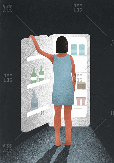 Illustration of a woman searching for food in fridge