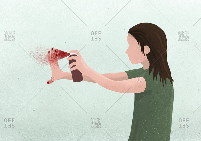 Illustration of a woman applying nail polish with a spray can