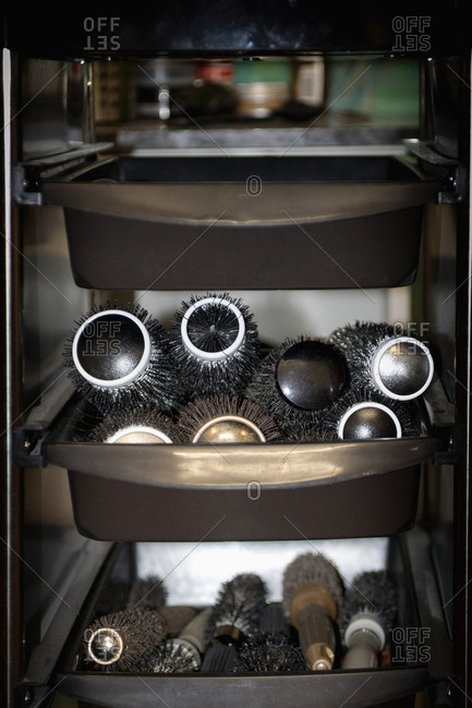 Tray trolley hair brushes salon hairdresser