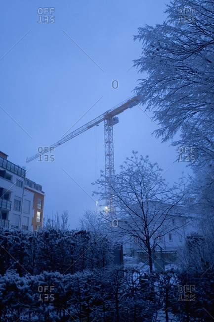 Building site construction evening night crane