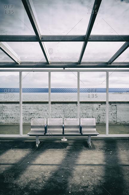 Seat bench train station empty platform row