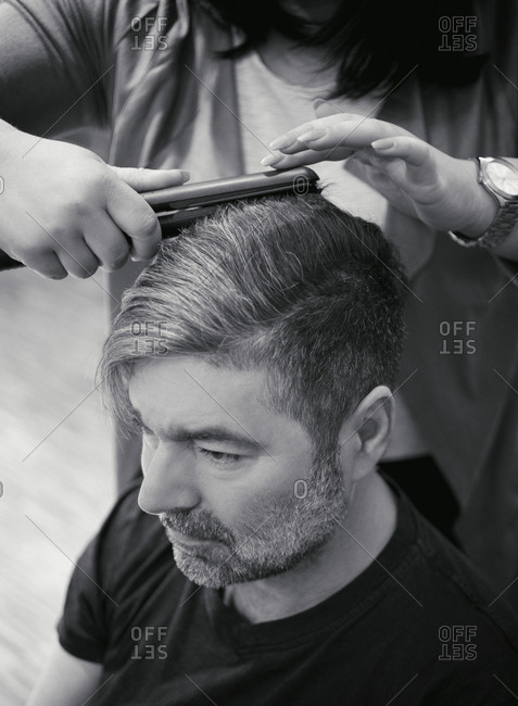 Man portrait hairdresser hair barber stylist salon