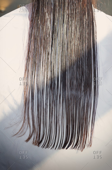 Close up long wet straight hair hairdresser salon
