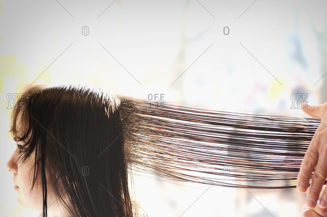 Hairdressing combing woman's long hair stylist