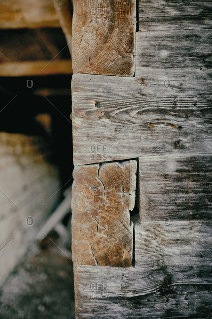 Close up wooden wall cabin log dovetail joint