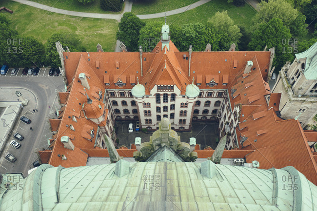 Hanover, Germany - May 17, 2016: Hanover new city town hall roof from above