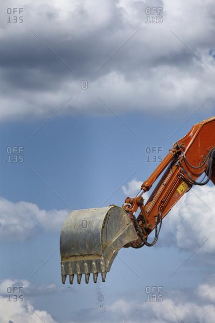 Excavator construction emptying shovel bucket
