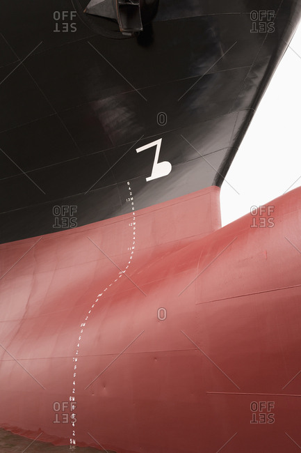 Bow of large cargo freighter hulk container ship