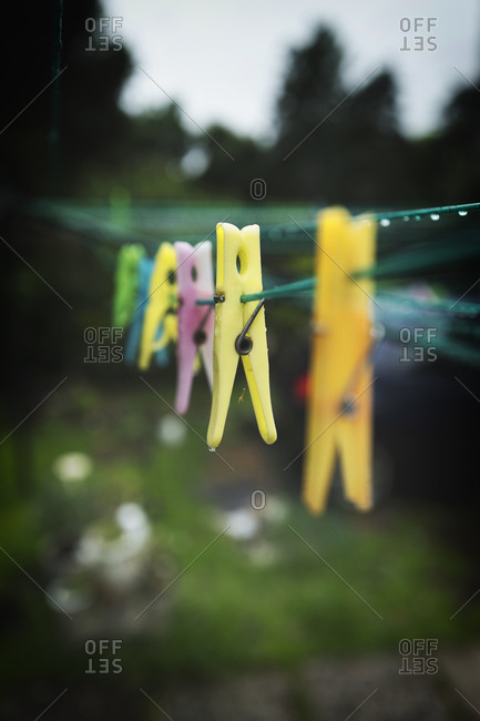 Clothes pegs hanging on line rain raining garden