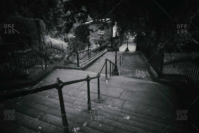 Stairs dark spooky dull scary empty steps narrow