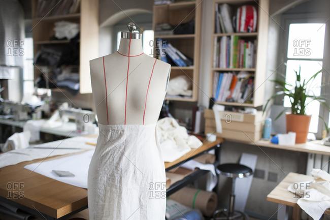 A dressmaker's model in clothing design studio
