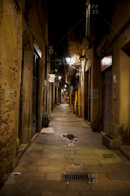 Barcelona, Spain - August 25, 2014: Alley at Night in Barcelona, Spain