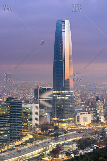 Santiago de Chile, Chile - July 14, 2016: Gran Torre Santiago in Costanera Center at Dusk, Providencia District