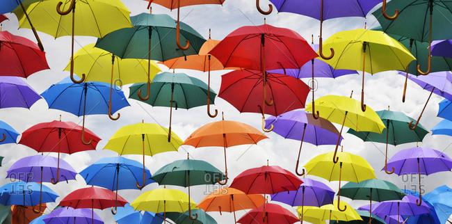 View of Multiple Umbrellas on Display in Bath, England, UK